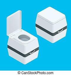 τουαλέτα , isometric , illustration., bio , απομονωμένος , μικρό , άσπρο