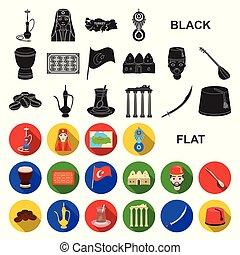 τουρκία , διαμέρισμα , θέτω , illustration., απεικόνιση ,...