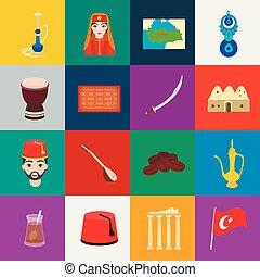 τουρκία , ιστός , θέτω , illustration., απεικόνιση , εξοχή ,...