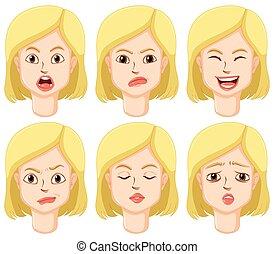 του προσώπου , γυναίκα , εκφράσεις , διαφορετικός