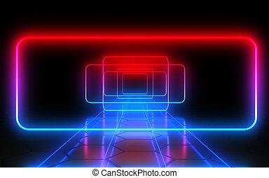 τούνελ , lights., αφαιρώ , νέο , εικόνα , 3d
