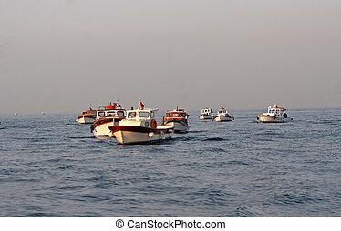τούρκικος , fisherman's , βάρκα , ανατολή