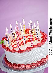 τούρτα γενεθλίων , με , αβαρής κερί