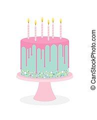 τούρτα γενεθλίων , με , ζαχαροαλοιφή , και , καύση , κερί