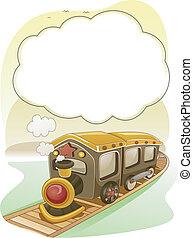 τρένο , με , καπνός , φόντο , με , κορνίζα