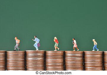 τρέξιμο , άνθρωποι , κέρματα , εργάτης , μινιατούρα , θημωνιά