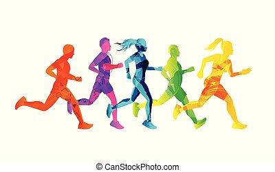 τρέξιμο , άντρεs , σύνολο , γυναίκεs