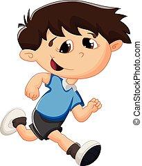 τρέξιμο , γελοιογραφία , παιδί