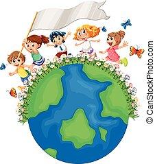 τρέξιμο , γη , σημαία , τριγύρω , παιδιά