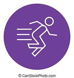 τρέξιμο , γραμμή , icon., άντραs