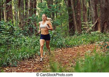 τρέξιμο , γυναίκα , δάσοs , έξω