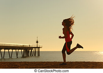 τρέξιμο , γυναίκα , παραλία , ανατολή