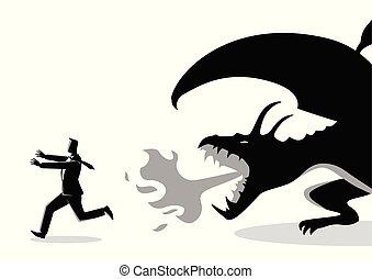 τρέξιμο , δράκος , επιχειρηματίας , μακριά