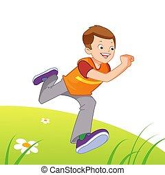 τρέξιμο , ευτυχισμένος , παιδί