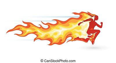 τρέξιμο , φλόγα , άντραs