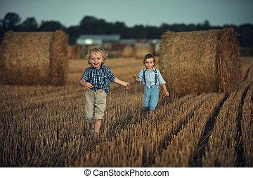 τρέξιμο , farmland , χαριτωμένος , δυο , αδέλφια , πορτραίτο