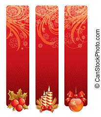 τρία , διακοπές , σύμβολο , μικροβιοφορέας , σημαίες , xριστούγεννα , κόκκινο