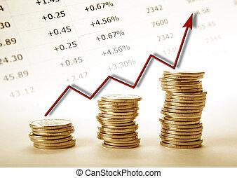 τρία , θημωνιά , από , κέρματα , με , κόκκινο , διάγραμμα , πρόοδοσ, εξέλιξη