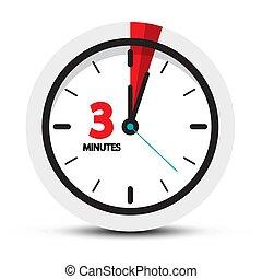 τρία , πρακτικά , ρολόι , λεπτό , ith, icon., σύμβολο. , 3...