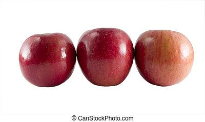 τρία , φρέσκος , fuji , μήλο