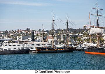 τρία , masted, sailboats , μέσα , san diego