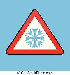 τρίγωνο , χειμώναs , σήμα , κρύο , νιφάδα χιονιού , δρόμοs