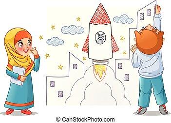 τραβώ , μικρόκοσμος , πύραυλοs , διάστημα , τοίχοs , βάφω