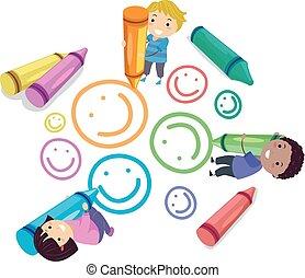 τραβώ , μικρόκοσμος , stickman, smiley , εικόνα , μολύβι