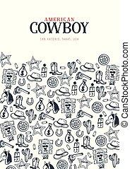 τραβώ , illustration., αγελαδάρης , δύση , banner., show., χέρι , φόντο. , βουκολικοί αγώνες ιππασίας , μικροβιοφορέας , γράφω άσκοπα , άγριος