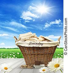 τραπέζι , καλαθοσφαίριση , μπουγάδα , ουρανόs , αγροτικός , μπλε , εναντίον , ρούχα