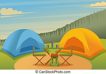 τραπέζι , κατασκήνωση , αντίσκηνο , εικόνα , meadow., μικροβιοφορέας , έδρα , δάσοs , όμορφος