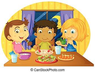 τραπέζι , μικρόκοσμος , γεύμα , τρία , έχει
