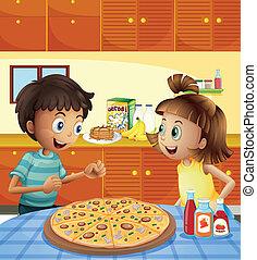 τραπέζι , μικρόκοσμος , ολόκληρο , κουζίνα , πίτα με τομάτες και τυρί