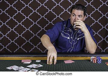 τραπέζι , πόκερ , άντραs , παίξιμο , κάθονται