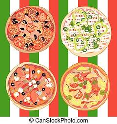 τραπέζι , σημαία , θέτω , πίτα με τομάτες και τυρί , ιταλίδα