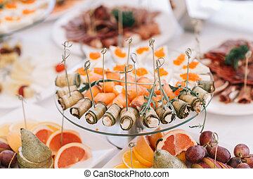 τραπέζι , fish, μεζέδεs , κρύο , εορταστικός
