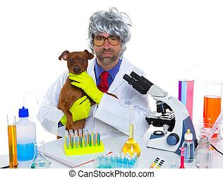 τρελός , κτηνιατρικός , σκύλοs , εργαστήριο , επιστήμονας , ανόητος , nerd , άντραs