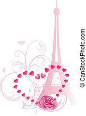 τριαντάφυλλο , με , καρδιά , και , πύργος του αΐφελ