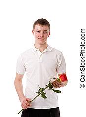 τριαντάφυλλο , νέος , κράτημα , άντραs
