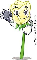 τριαντάφυλλο , σχήμα , άσπρο , γελοιογραφία , γιατρός