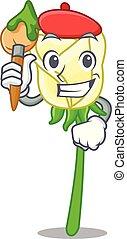 τριαντάφυλλο , σχήμα , άσπρο , γελοιογραφία , καλλιτέχνηs