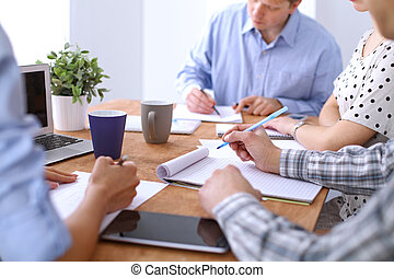 τριγύρω , αρμοδιότητα ακόλουθοι , ανάμιξη , τραπέζι , συνάντηση