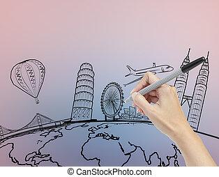 τριγύρω , ταξιδεύω , χέρι , κόσμοs , όνειρο , ζωγραφική