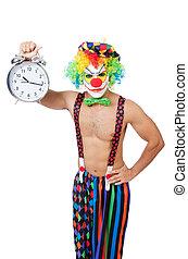 τρομάζω , άσπρο , γελωτοποιός , ρολόι