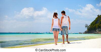 τροπικός , ζευγάρι , παραλία