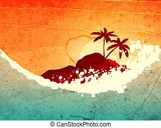 τροπικός , θάλασσα , και , νησί