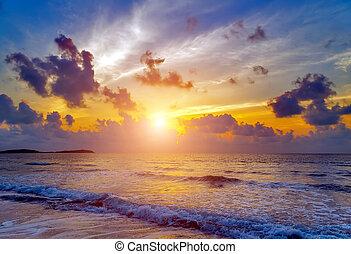 τροπικός , θαλασσογραφία , παραλία , ανατολή