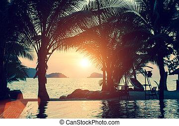 τροπικός , καταπληκτικός , ηλιοβασίλεμα , ακτή