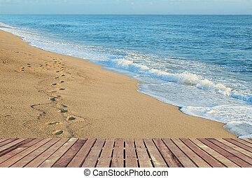 τροπικός , ξύλινος , παραλία , πάτωμα