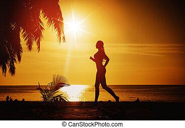 τροπικός , τρέξιμο , γυναίκα , παραλία , προσαρμόζω